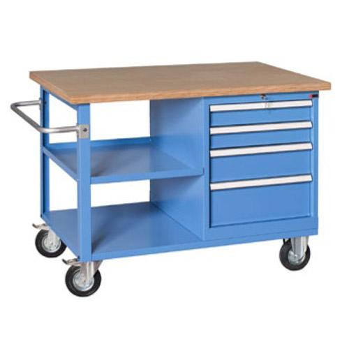 Arredamento industriale banco da lavoro su ruote con - Tavolo da lavoro con ruote ...